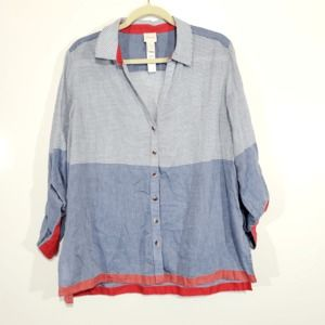 Chicos Tunic Long Sleeve High Low Top Striped